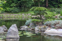 Fragment of a japanese garden Stock Images