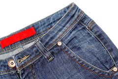 Fragment of jeans. Jeans pocket close-up over isolated on white Stock Photo