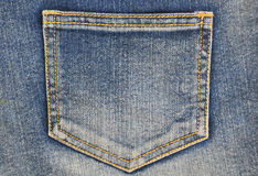 Fragment of jeans with pocket. Can be used as a jeans background Royalty Free Stock Images