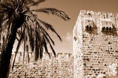 Jerusalem old city wall. Fragment of Jerusalem old city wall. Israel, 2012. Sepia Royalty Free Stock Images