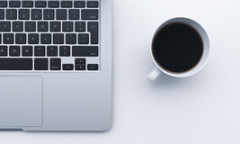 Fragment of  keyboard, cup of coffee Royalty Free Stock Photo