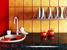 Fragment of the kitchen interior Royalty Free Stock Image