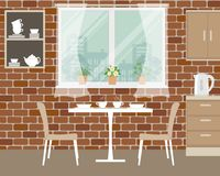 Fragment of kitchen interior on a brick wall background vector illustration