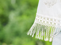 Fragment of lace curtains Royalty Free Stock Photography