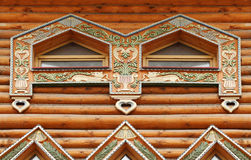 Fragment of large wooden house Stock Images