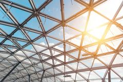 Fragment of latticed window with sky visible through royalty free stock photos