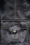 Fragment of leather jacket Stock Image