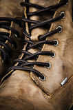 Fragment Leather Winter Boot. Close up background Stock Photos