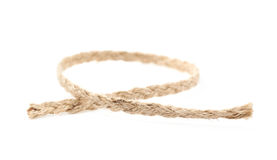 Fragment of a linen rope isolated Royalty Free Stock Image