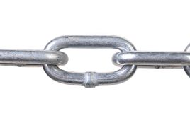 Fragment of links a chain close up. Royalty Free Stock Photography