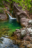 Fragment of little waterfall Stock Photos