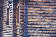 Fragment of a log house with elements of Russian architecture, w Stock Image
