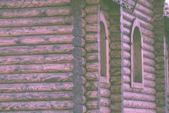 Fragment of a log house with elements of Russian architecture, wooden carvings Stock Photo