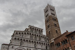 Fragment of Lucca Cathedral. Cattedrale di San Martino. Tuscany. Italy. Italy, Lucca - September 18 2016: the view of the fragment of Lucca Cathedral Stock Images