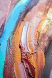 fragment Mångfärgad texturmålning abstrakt konstbakgrund Olja på kanfas Grova penseldrag av målarfärg Closeup av en paintin arkivbilder