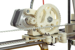 Fragment of the machine. Photo of the  small machine detail. 3D printer Stock Photo