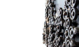 Fragment of the machine. Plastic dusty and dirty gears Stock Photo