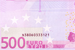 Fragment macro of five hundred euro banknote. Royalty Free Stock Image