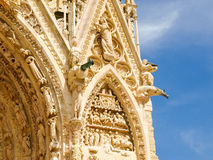 Fragment of main facade of Cathedral Notre-Dame de Reims Royalty Free Stock Images