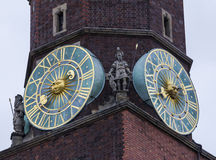 Fragment of the main tower of the city hall, Wroclaw, Poland Royalty Free Stock Photos