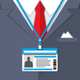 Fragment of a man suit with the badge. Background of fragment of a man suit with a red tie and with the badge. vector illustration Stock Photography