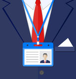 Fragment of a man suit. With the badge. vector illustration Stock Photography