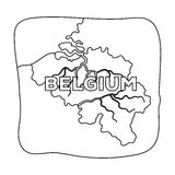 A fragment of the map of Belgium.The dark Belgian wolf. Belgium single icon in outline style vector symbol stock Stock Image