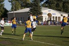 Fragment of the match. SLOVIANSK, UKRAINE - 21 SEPTEMBER 2011: Fragment of the match of 1/16 Datagroup Cup of Ukraine between Slovkhlib Sloviansk vs Zoria Royalty Free Stock Photos