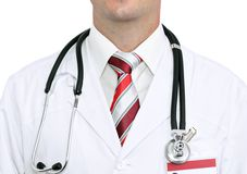 Fragment medical doctor's smock . Isolated stock photography