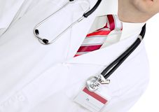Fragment medical doctor's smock . Isolated Royalty Free Stock Images