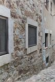 Fragment of a medieval building inside a medieval fortress in Spain. royalty free stock image