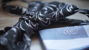 Fragment of a men`s shirt with a tie on floor. men`s tie and handkerchief. Men`s suits dress accessories pocket towel. Solid color scarf handkerchief HD Royalty Free Stock Photos