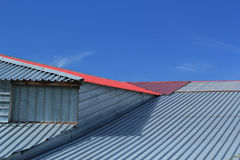 Fragment of a metal roof Royalty Free Stock Image