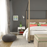 Fragment of modern bedroom with colorful decoration stock image