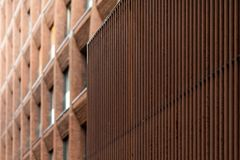 Fragment of a modern brick building in Moscow. stock images