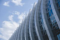 Fragment of a modern building, glass facade, perspective view. stock photo