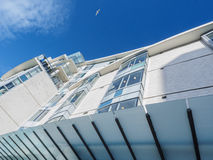 Fragment of modern building with seagull in the sky above Stock Image