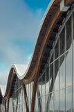 Fragment of modern building with structural glass wall. MINSK, BELARUS - January 15, 2017: Sports complex Olympic reserve. Pool National Olympic Training Center Stock Images