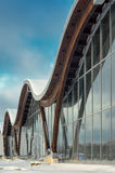 Fragment of modern building with structural glass wall. MINSK, BELARUS - January 15, 2017: Sports complex Olympic reserve. Pool National Olympic Training Center Royalty Free Stock Photography