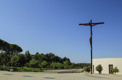 Fragment of modern church and art installation in Fatima Royalty Free Stock Photos