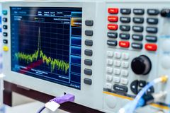 Fragment of a modern digital oscilloscope. Scientific measuring equipment. Abstract industrial background stock photo