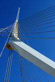 Fragment of a modern rope suspension bridge. Stock Image