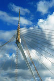 Fragment of a modern rope suspension bridge. Stock Photos