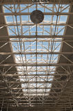 Fragment of modern urban architecture. Metal roof of office buildings Royalty Free Stock Image