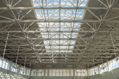 Fragment of modern urban architecture. Metal roof of office buildings Royalty Free Stock Photo
