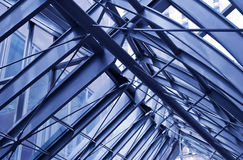 Fragment of modern urban architecture, metal roof. Of a corridor between office buildings Royalty Free Stock Photography