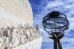 Fragment of monument to the Discoveries, Lisbon, Portugal. The fragment of monument to the Discoveries with art installation of the Earth in Lisbon, the capital royalty free stock photo