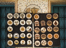 Fragment of mosaic panels with floral, animalistic and architect. Tunisia. Fragment of mosaic panels with floral, animalistic and architectural motifs royalty free stock image