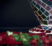 Fragment of mosaic vase and decorations Stock Photography
