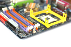 Fragment of mother board for computer Stock Photo